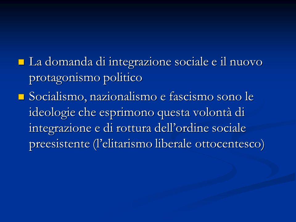 La domanda di integrazione sociale e il nuovo protagonismo politico