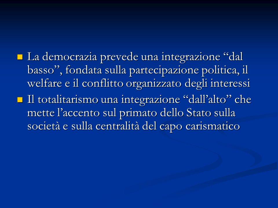 La democrazia prevede una integrazione dal basso , fondata sulla partecipazione politica, il welfare e il conflitto organizzato degli interessi