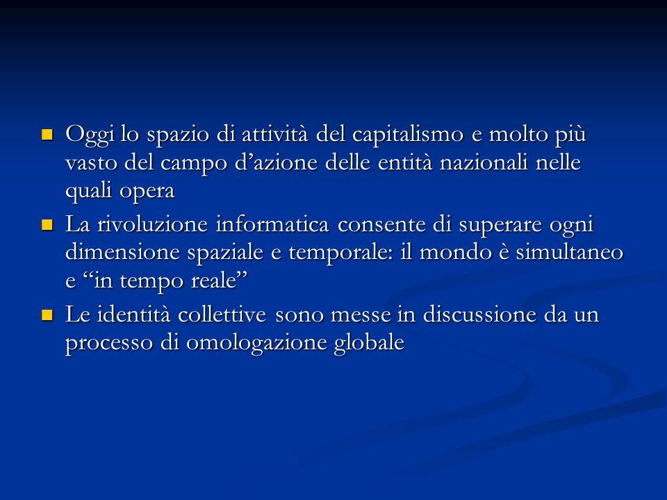 Oggi lo spazio di attività del capitalismo e molto più vasto del campo d'azione delle entità nazionali nelle quali opera