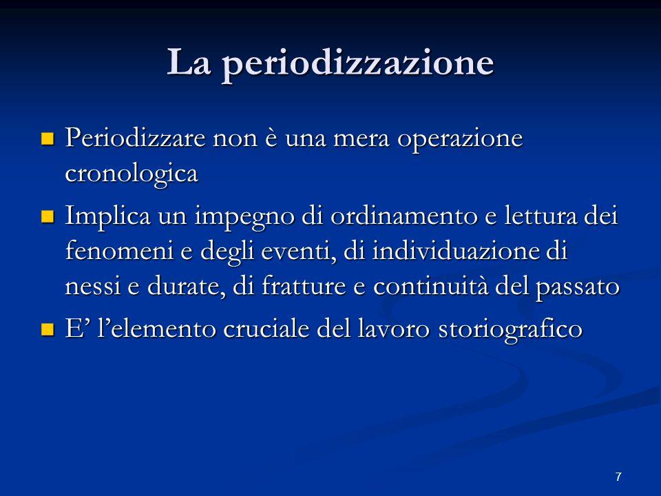 La periodizzazione Periodizzare non è una mera operazione cronologica
