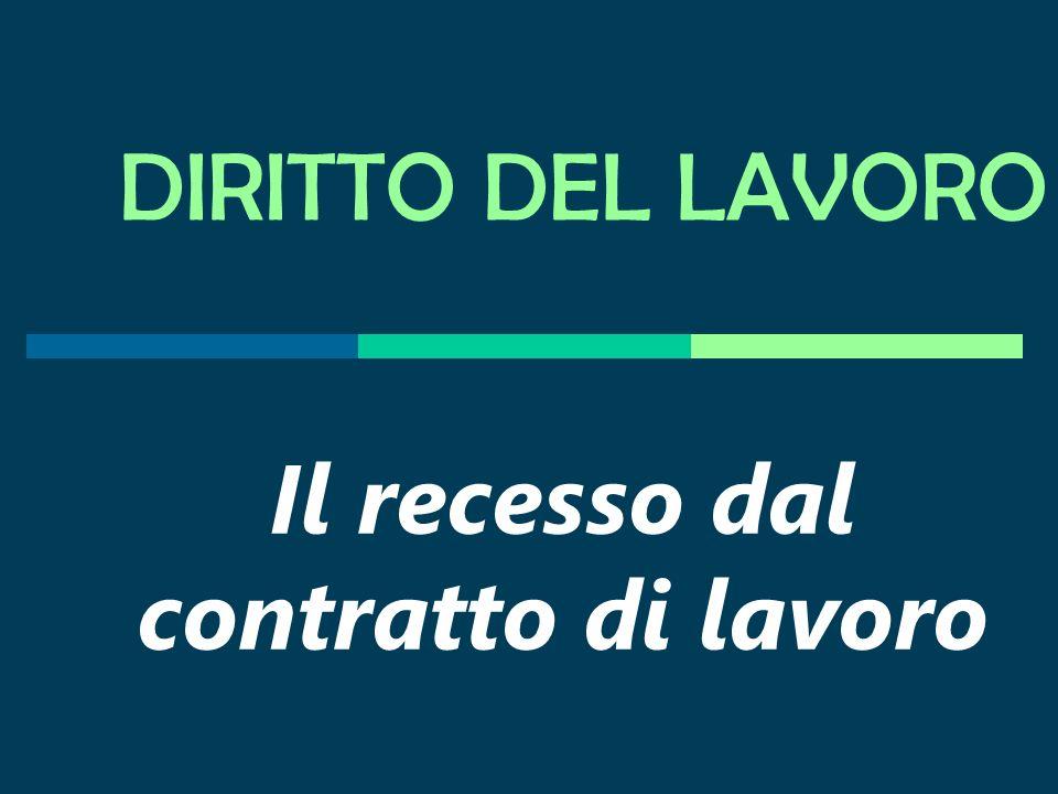 Prof. Antonio Lo Faro Il recesso dal contratto di lavoro