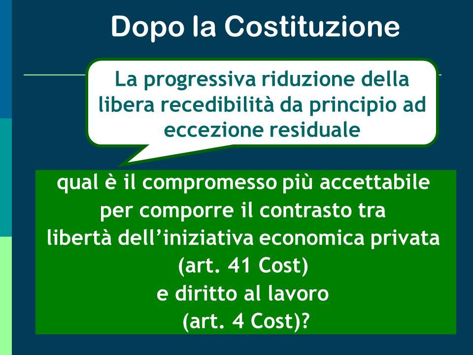 Dopo la Costituzione La progressiva riduzione della libera recedibilità da principio ad eccezione residuale.