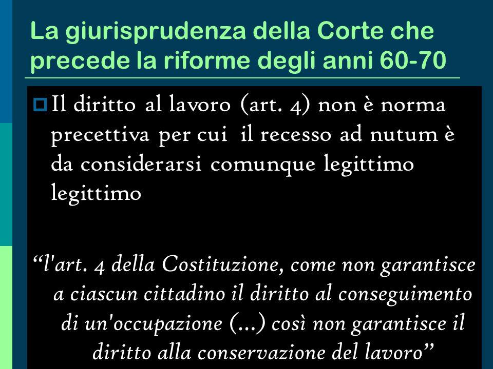 La giurisprudenza della Corte che precede la riforme degli anni 60-70