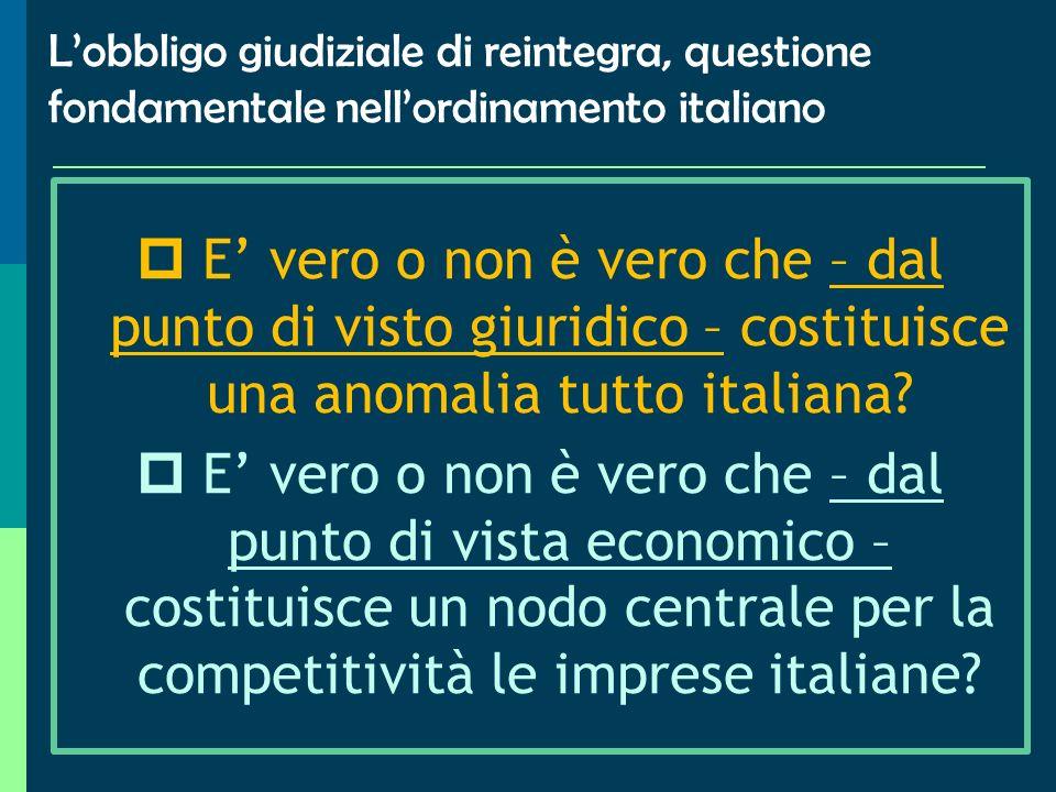 L'obbligo giudiziale di reintegra, questione fondamentale nell'ordinamento italiano