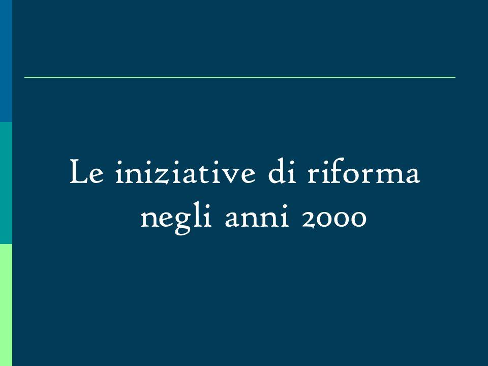 Le iniziative di riforma negli anni 2000