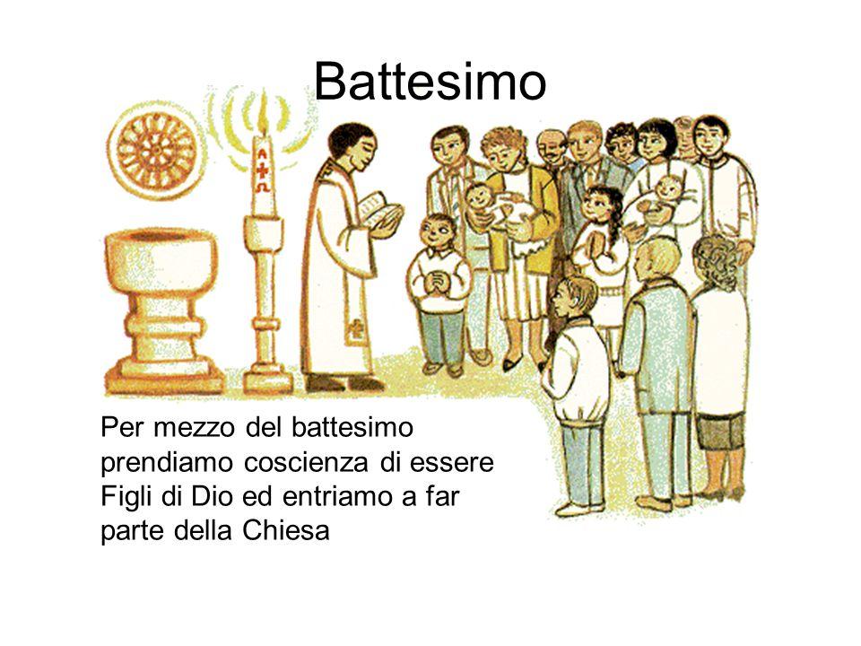 Battesimo Per mezzo del battesimo prendiamo coscienza di essere Figli di Dio ed entriamo a far parte della Chiesa.