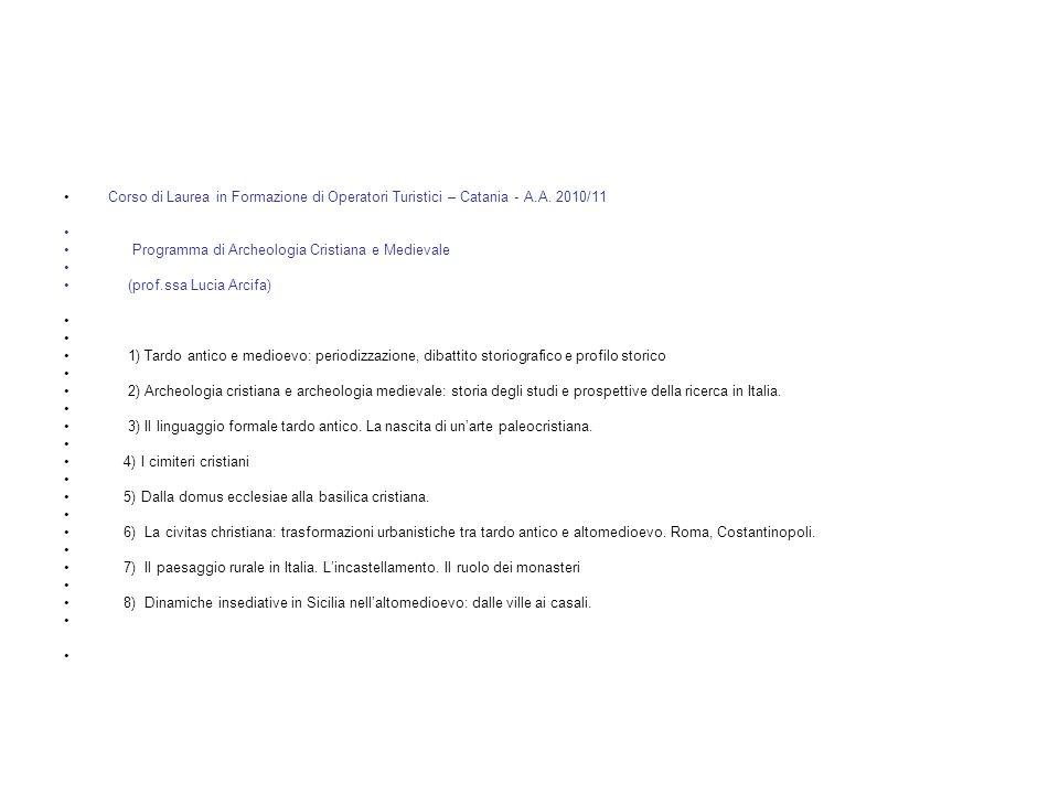 Corso di Laurea in Formazione di Operatori Turistici – Catania - A. A