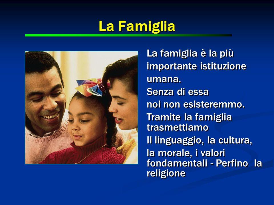 La Famiglia La famiglia è la più importante istituzione umana.
