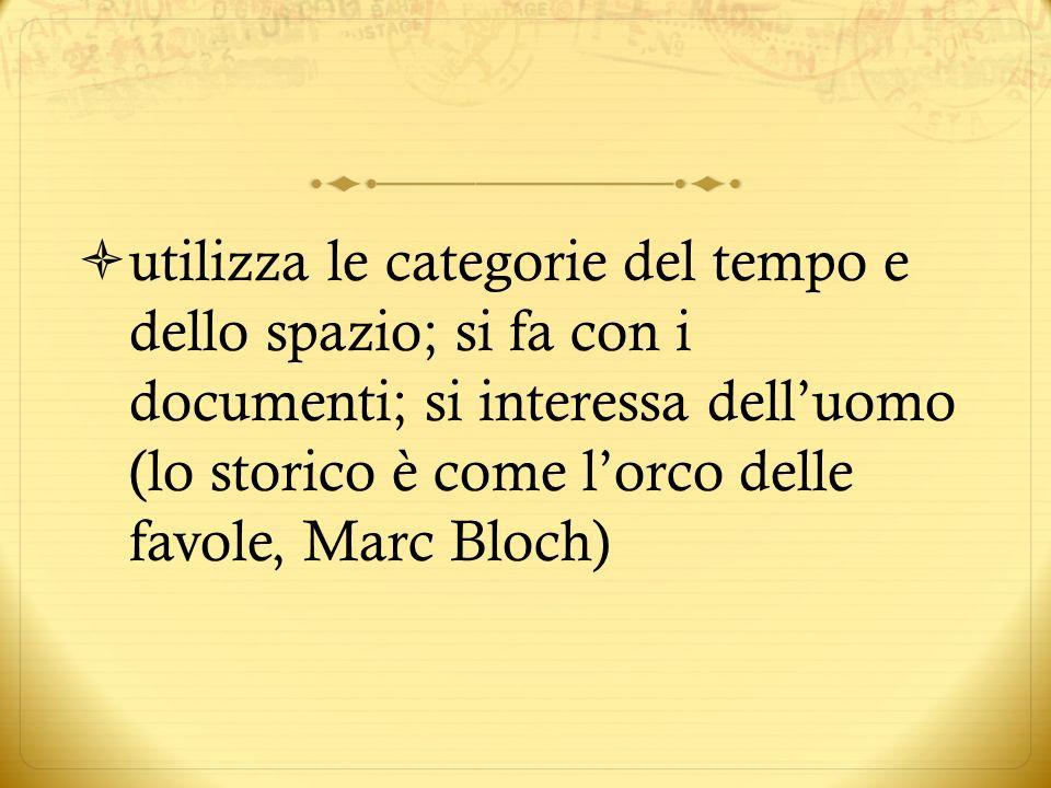 utilizza le categorie del tempo e dello spazio; si fa con i documenti; si interessa dell'uomo (lo storico è come l'orco delle favole, Marc Bloch)