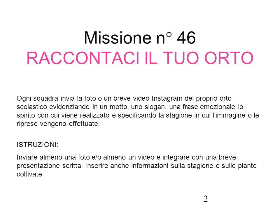 Missione n° 46 RACCONTACI IL TUO ORTO