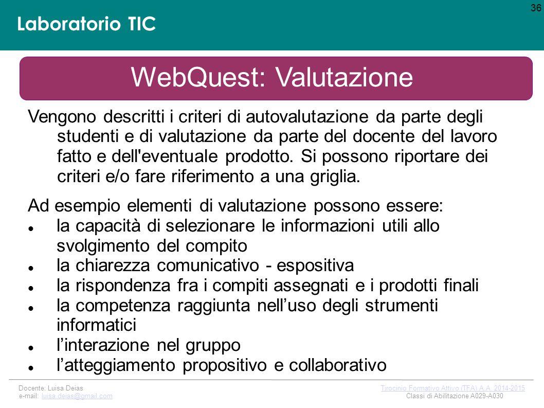 WebQuest: Valutazione