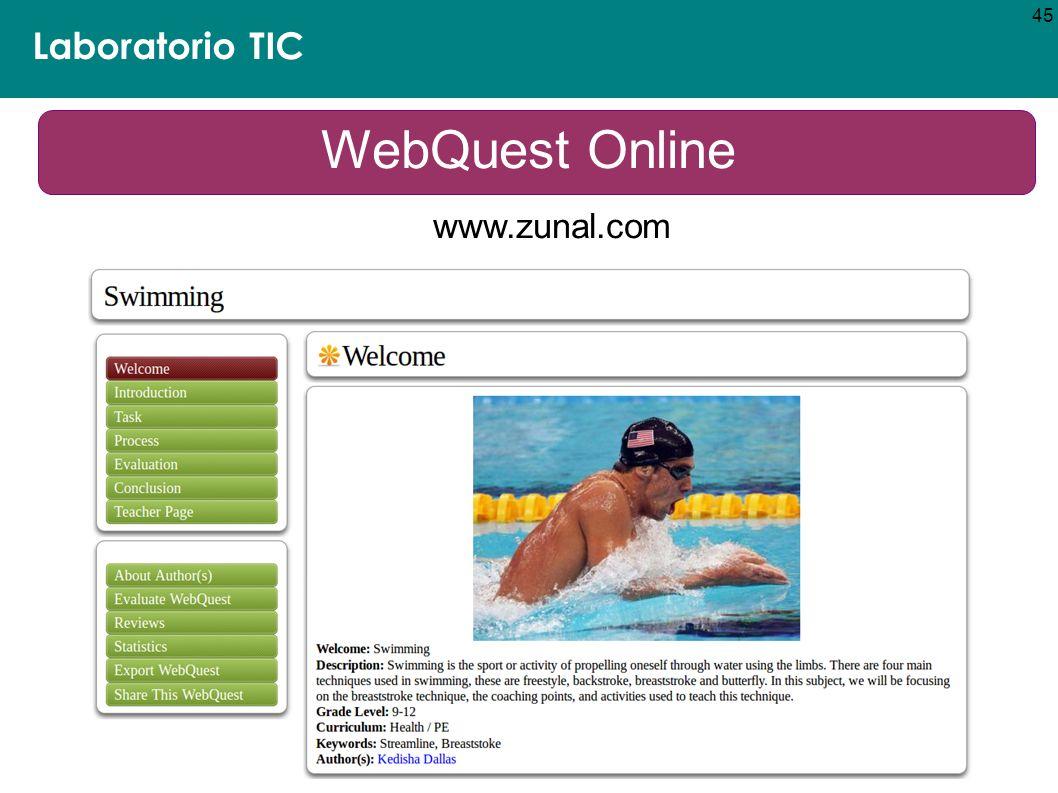 45 Laboratorio TIC WebQuest Online www.zunal.com