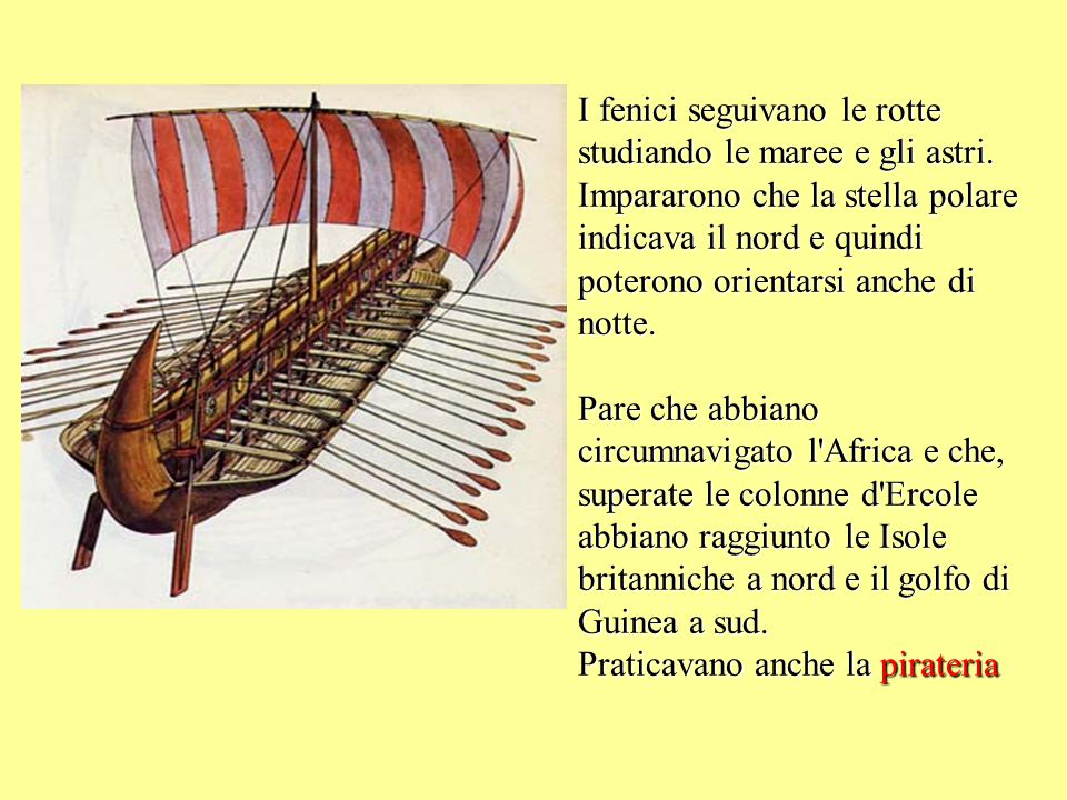 I fenici seguivano le rotte studiando le maree e gli astri