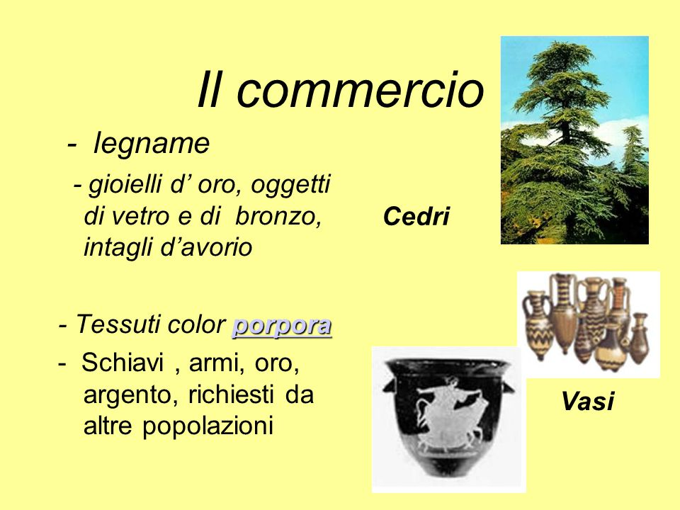 Il commercio ‑ legname. - gioielli d' oro, oggetti di vetro e di bronzo, intagli d'avorio. - Tessuti color porpora.