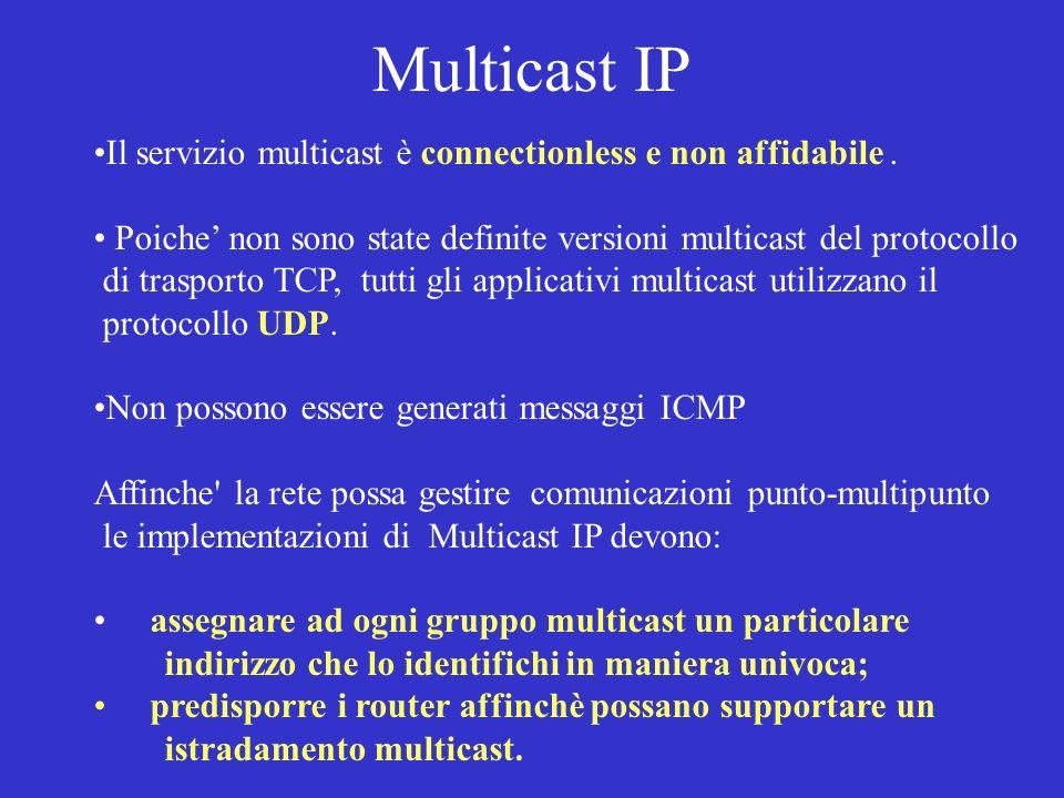 Multicast IP Il servizio multicast è connectionless e non affidabile .