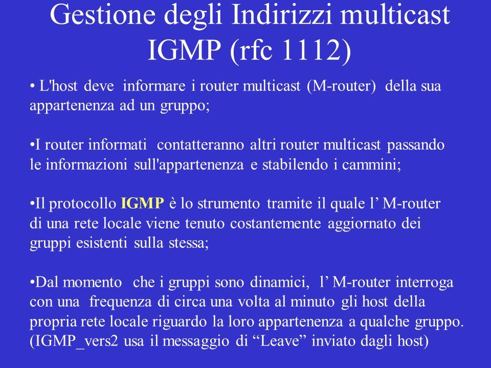 Gestione degli Indirizzi multicast IGMP (rfc 1112)