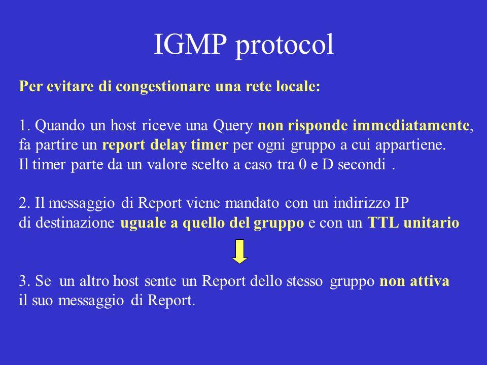 IGMP protocol Per evitare di congestionare una rete locale: