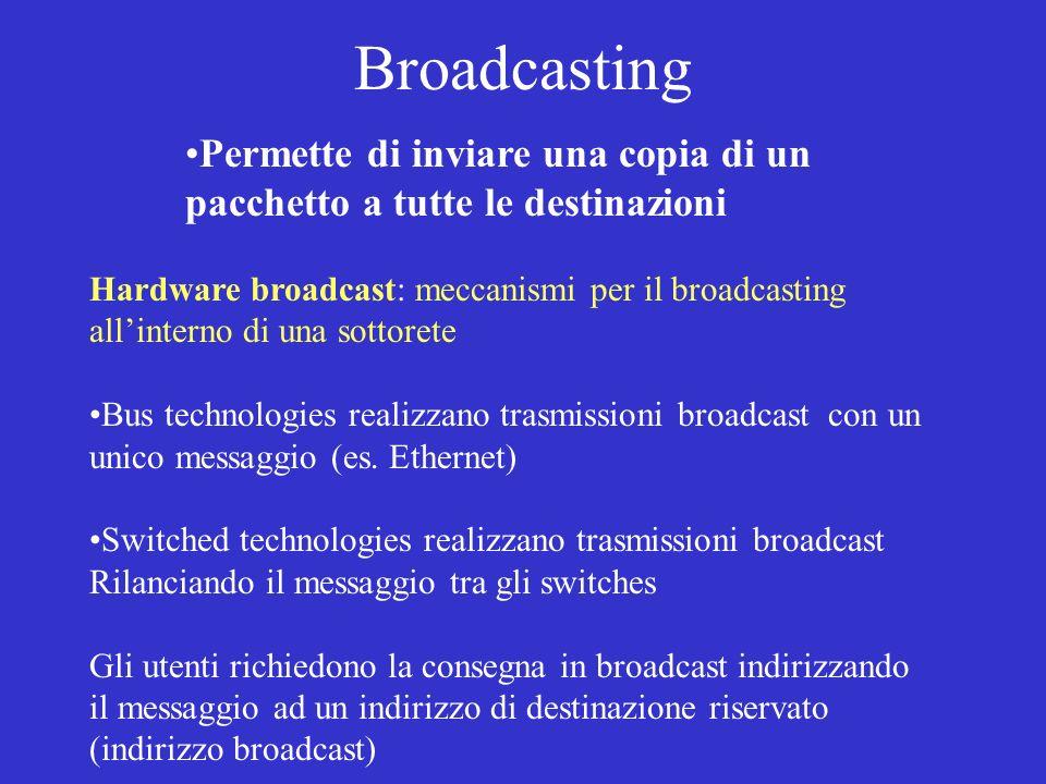 Broadcasting Permette di inviare una copia di un