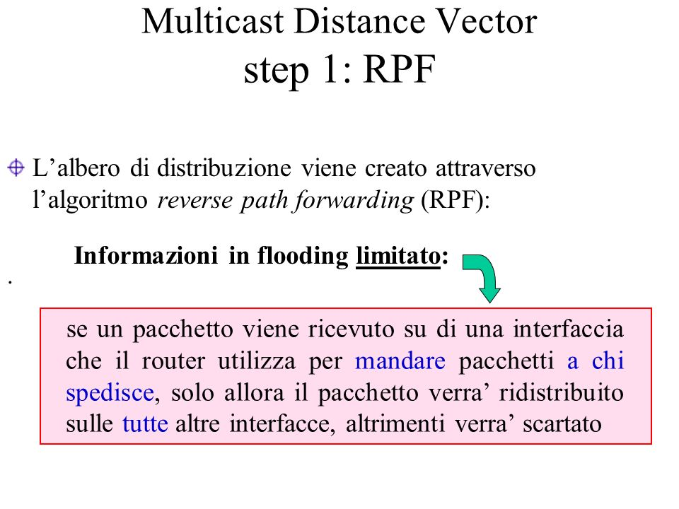 Multicast Distance Vector step 1: RPF