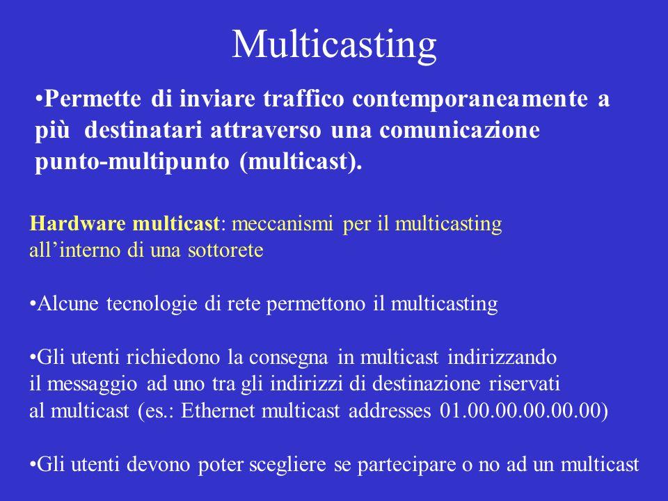 Multicasting Permette di inviare traffico contemporaneamente a più destinatari attraverso una comunicazione.