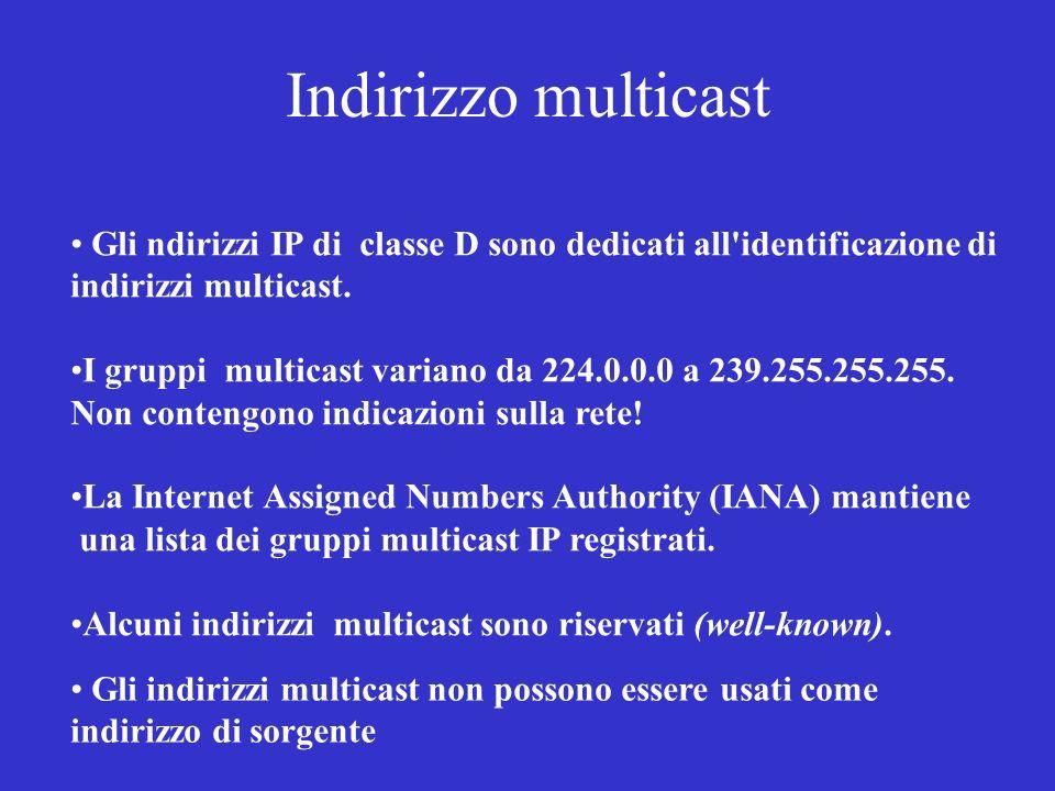 Indirizzo multicast Gli ndirizzi IP di classe D sono dedicati all identificazione di. indirizzi multicast.