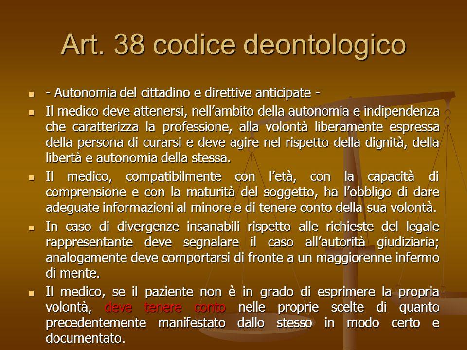 Art. 38 codice deontologico