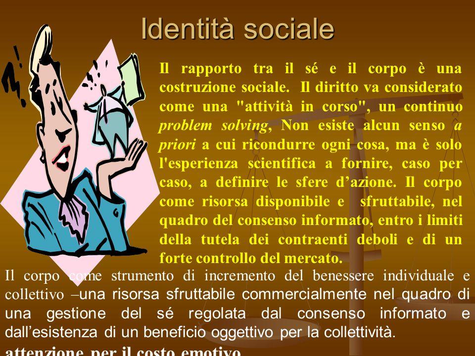 Identità sociale attenzione per il costo emotivo