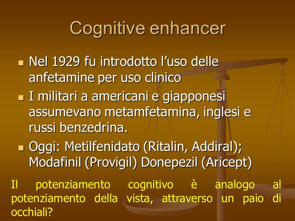 Cognitive enhancer Nel 1929 fu introdotto l'uso delle anfetamine per uso clinico.