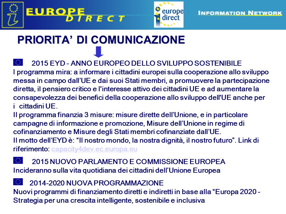 PRIORITA' DI COMUNICAZIONE