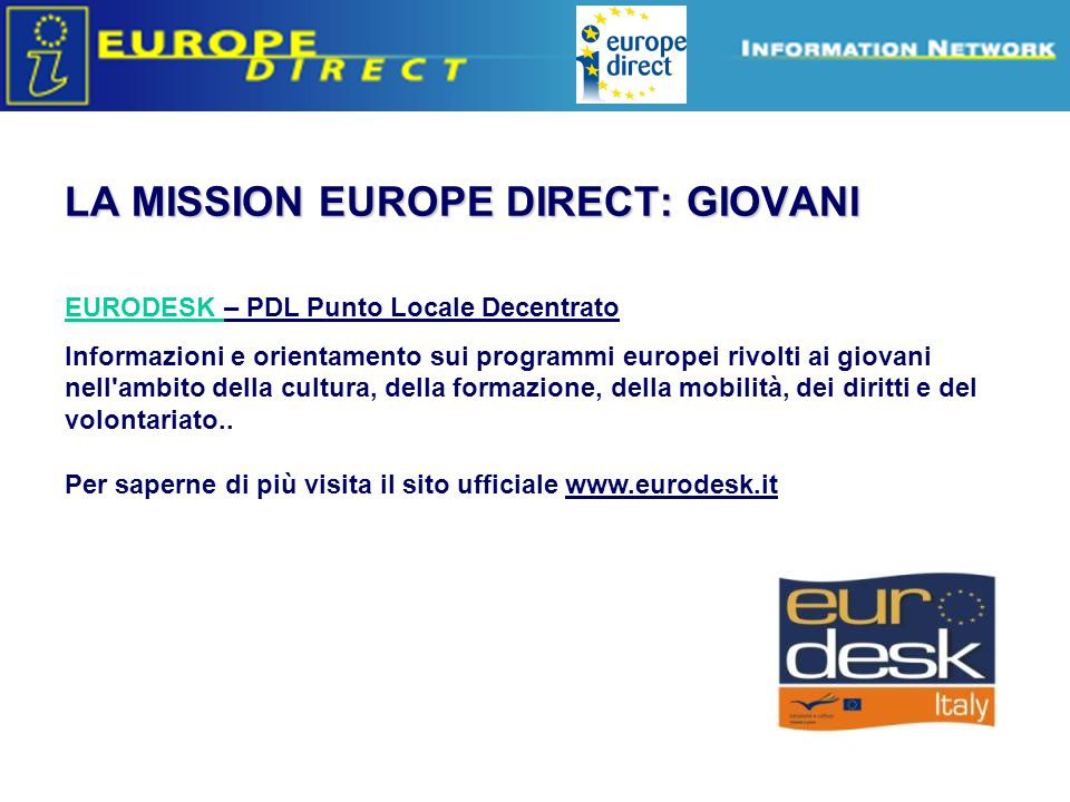LA MISSION EUROPE DIRECT: GIOVANI