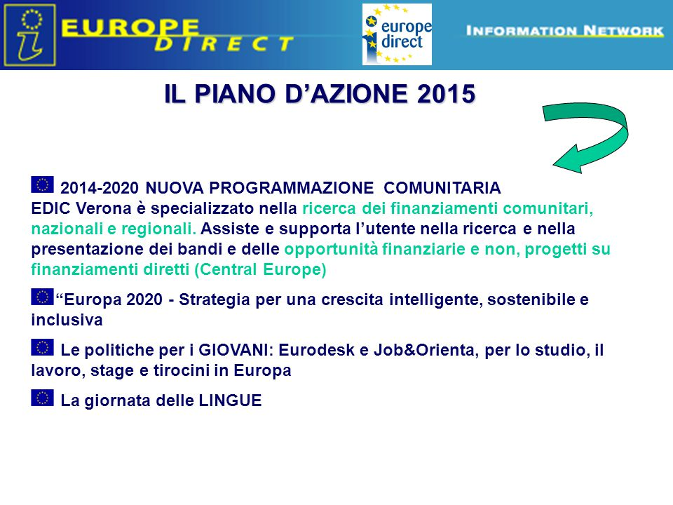 Europe Direct information relays IL PIANO D'AZIONE 2015