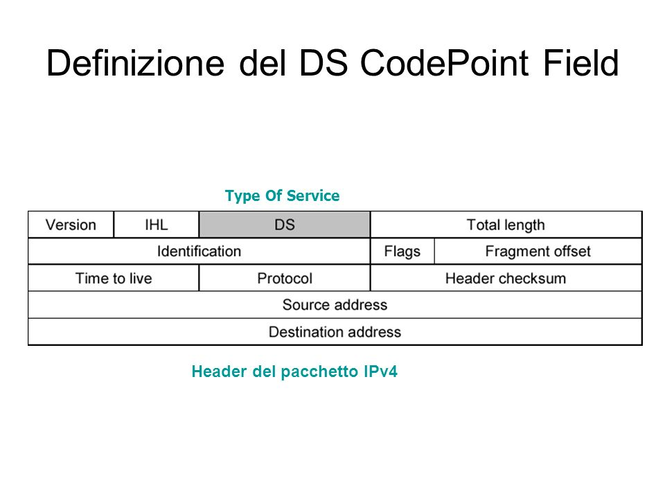 Definizione del DS CodePoint Field