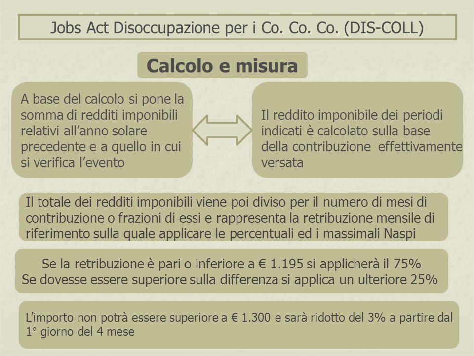 Calcolo e misura Jobs Act Disoccupazione per i Co. Co. Co. (DIS-COLL)