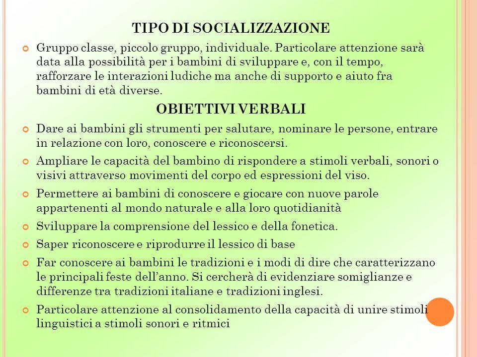 TIPO DI SOCIALIZZAZIONE