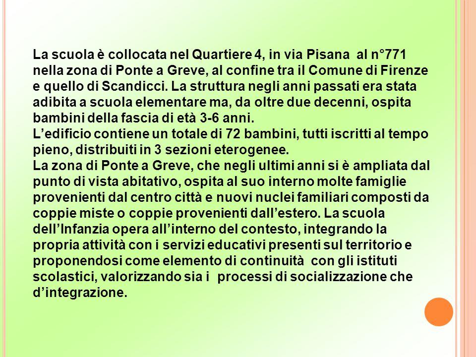 La scuola è collocata nel Quartiere 4, in via Pisana al n°771 nella zona di Ponte a Greve, al confine tra il Comune di Firenze e quello di Scandicci. La struttura negli anni passati era stata adibita a scuola elementare ma, da oltre due decenni, ospita bambini della fascia di età 3-6 anni.