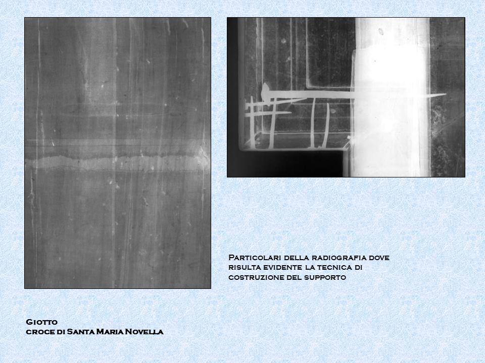 Particolari della radiografia dove risulta evidente la tecnica di costruzione del supporto