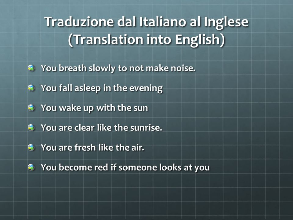 Traduzione dal Italiano al Inglese (Translation into English)