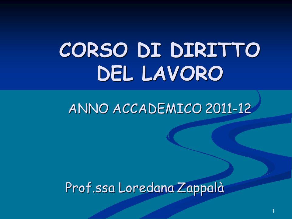CORSO DI DIRITTO DEL LAVORO ANNO ACCADEMICO 2011-12