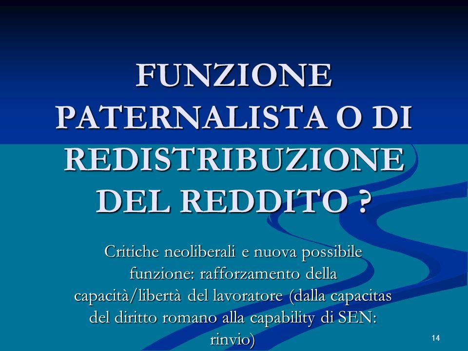 FUNZIONE PATERNALISTA O DI REDISTRIBUZIONE DEL REDDITO