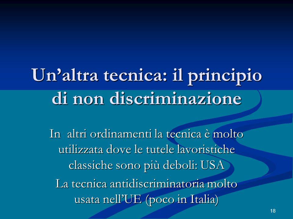 Un'altra tecnica: il principio di non discriminazione