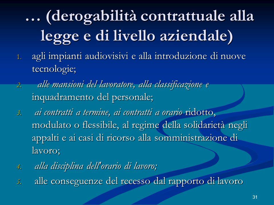 … (derogabilità contrattuale alla legge e di livello aziendale)