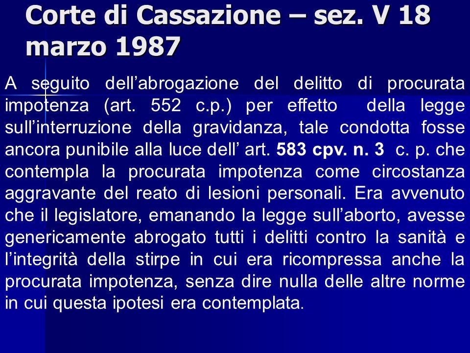 Corte di Cassazione – sez. V 18 marzo 1987