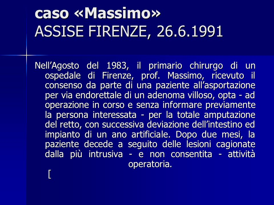 caso «Massimo» ASSISE FIRENZE, 26.6.1991