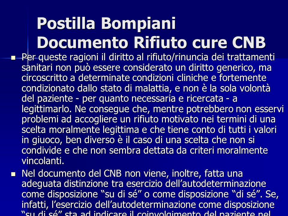 Postilla Bompiani Documento Rifiuto cure CNB