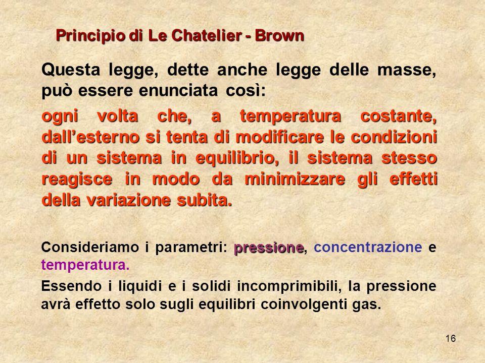 Principio di Le Chatelier - Brown