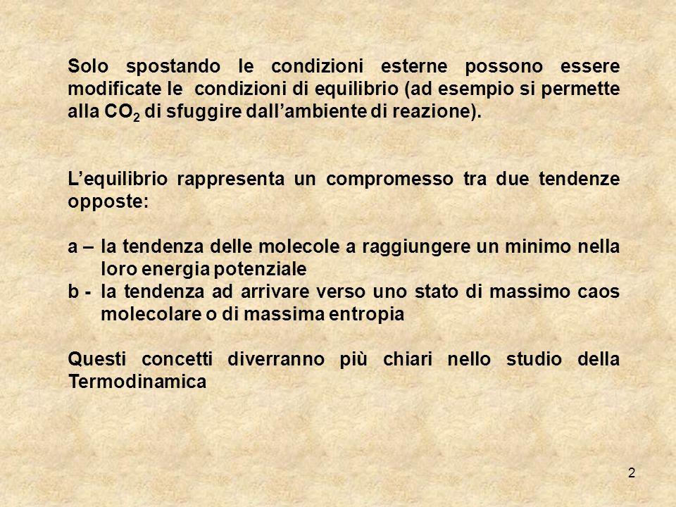 Solo spostando le condizioni esterne possono essere modificate le condizioni di equilibrio (ad esempio si permette alla CO2 di sfuggire dall'ambiente di reazione).