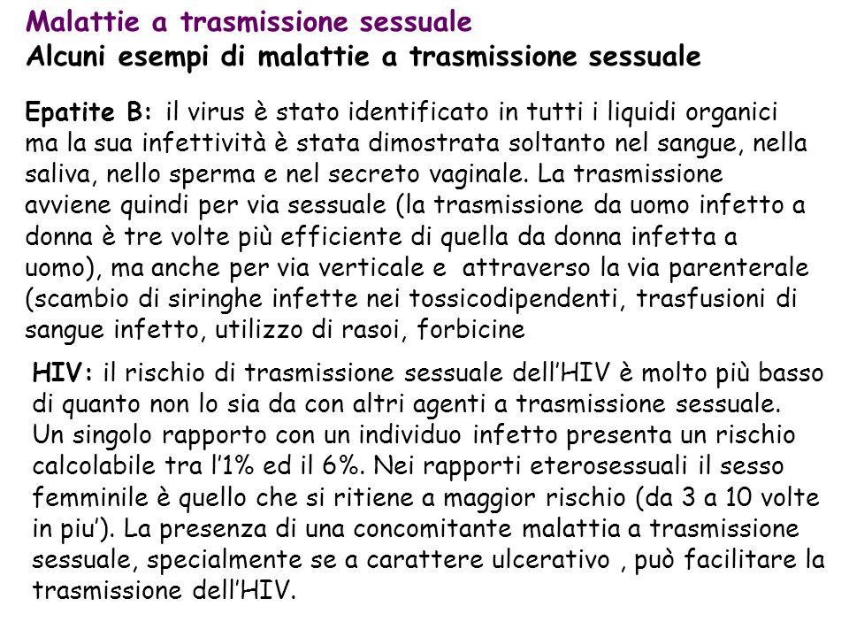 Malattie a trasmissione sessuale Alcuni esempi di malattie a trasmissione sessuale