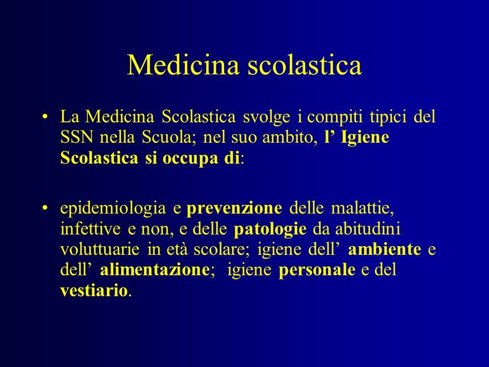 Medicina scolasticaLa Medicina Scolastica svolge i compiti tipici del SSN nella Scuola; nel suo ambito, l' Igiene Scolastica si occupa di: