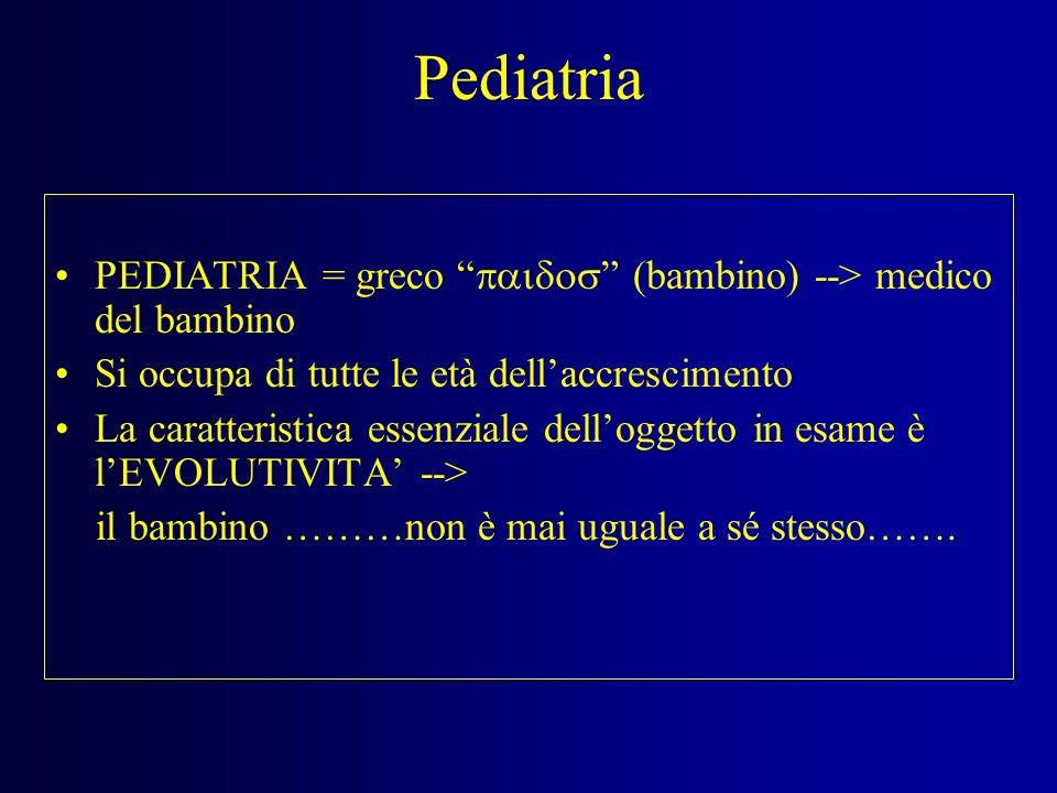 PediatriaPEDIATRIA = greco paidos (bambino) --> medico del bambino. Si occupa di tutte le età dell'accrescimento.