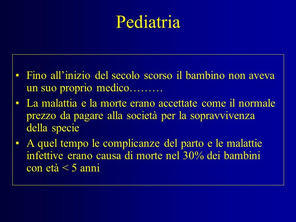 Pediatria Fino all'inizio del secolo scorso il bambino non aveva un suo proprio medico………
